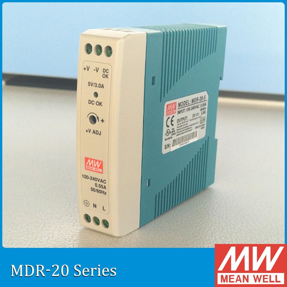 Meanwell MDR-20 12V 5V 15V 24V 20W Din Rail power supply ac-dc driver AC/DC voltage LED strip 110V 220V laboratory power supply original meanwell 5v 75a 375w se 450 5 power supply driver 110v 220v ac to dc 5v ul 2 years warranty