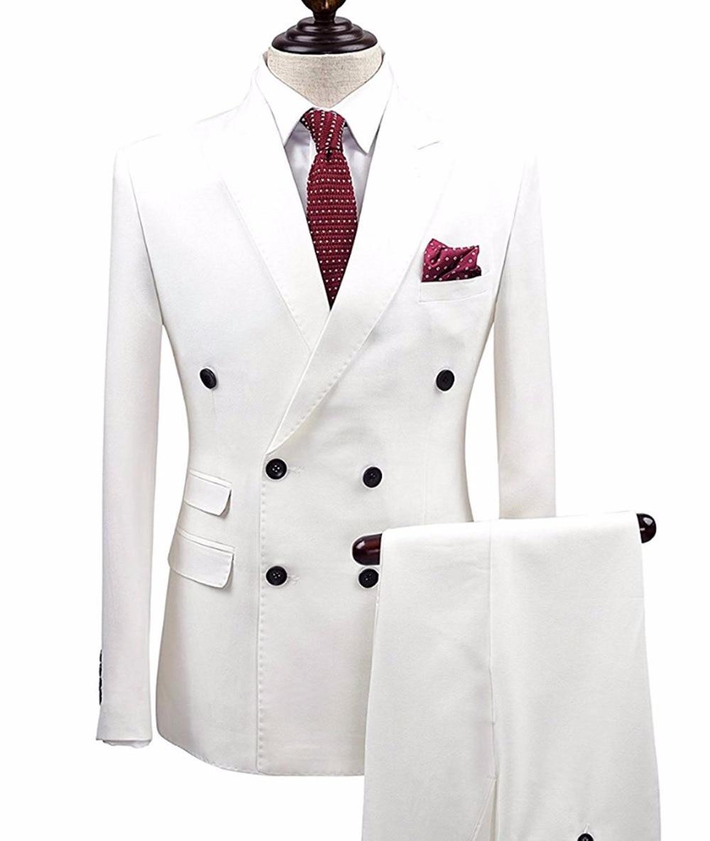 2 Pieces Navy Blue Double Breasted Solid 2 Piece Suit Slim Fit Notch Lapel One Button Tuxedo Jacket Pants Set ( Blazer+Pant)