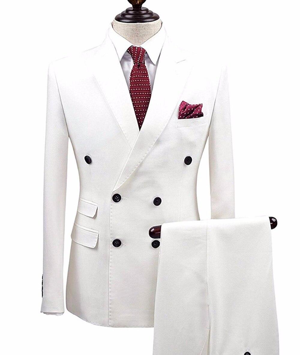 2 sztuk biały podwójne piersi stały 2 sztuka Slim Fit męskie garnitur Notch Lapel jednego przycisku Tuxedo kurtka spodnie zestaw (marynarka + spodnie) w Garnitury od Odzież męska na  Grupa 2