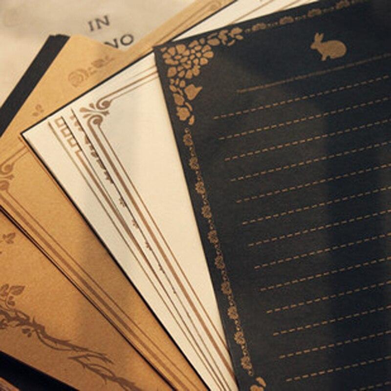 8 листов/комплект Европейский Стиль Винтаж Писчая Бумага Письмо Хорошее Качество Культуры Канцелярских Крафт Письмо Офиса