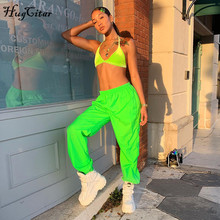 Hugcitar high waist neon green cargo pants 2019 summer women fahion ca