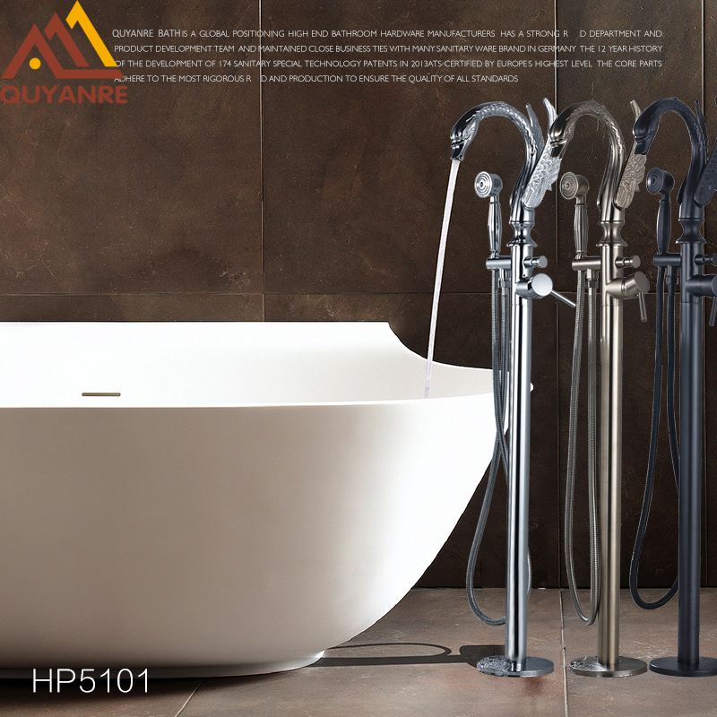 Quyanre Bathtub Faucet Swan Style Rotation Floor Stand Faucet Black ORB Chrome Nickel Single Handle Mixer