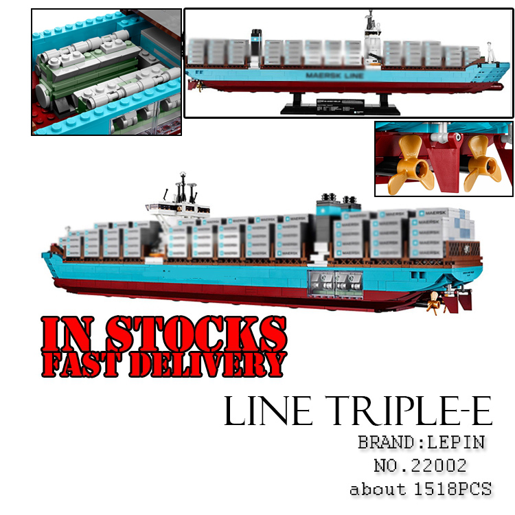 Lepin 22002 1518Pcs Technic Series The Maersk Cargo Container Ship Set Educational Building Blocks Bricks Model ToysGifts 10241 22002 genuine technic series the maersk cargo container ship set 10241 building educational toys lepin