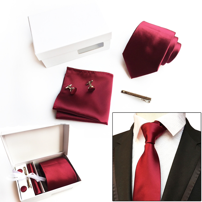 2018 High Quality Classical 8 CM Solid Color Black Red Navy Men's Neck Tie Set Tie Bar And Cufflinks Gift Box Packed