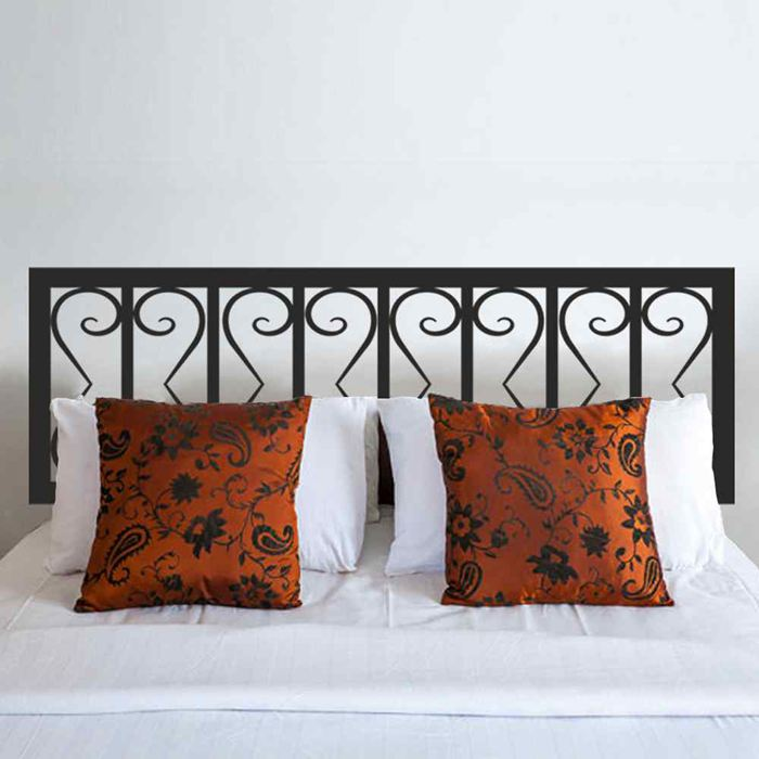 Iron Headboard Geometric style Shabby Chic Headboard Decal Bed Vinyl Wall Sticker Bedpost Bedroom Wall Decal Home Decoration