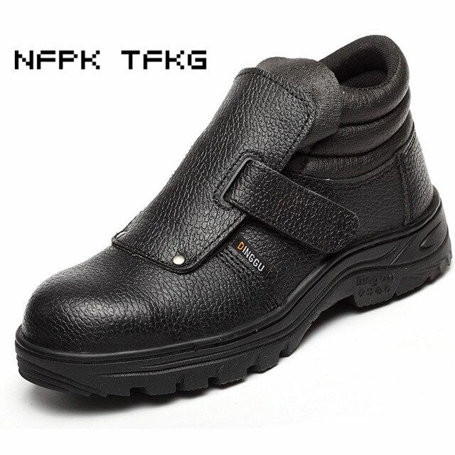 91c570cdc5db Plus size moda masculina preto caps steel toe segurança do trabalho sapatos  de couro genuíno de