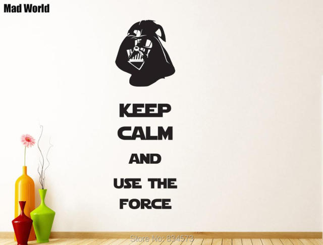 Mad world keep calm and use the force wall art stickers wall decal home diy
