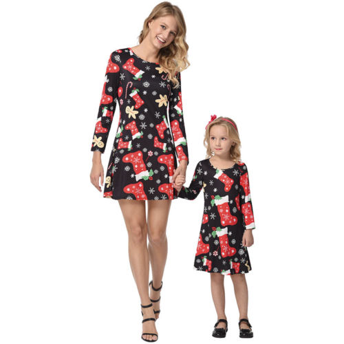 Christmas Mother Daughter Dress Santa Snowflake Stocking Print Long Sleeve Xmas Family Matching Clothes Outfit Brand New Dresses недорго, оригинальная цена