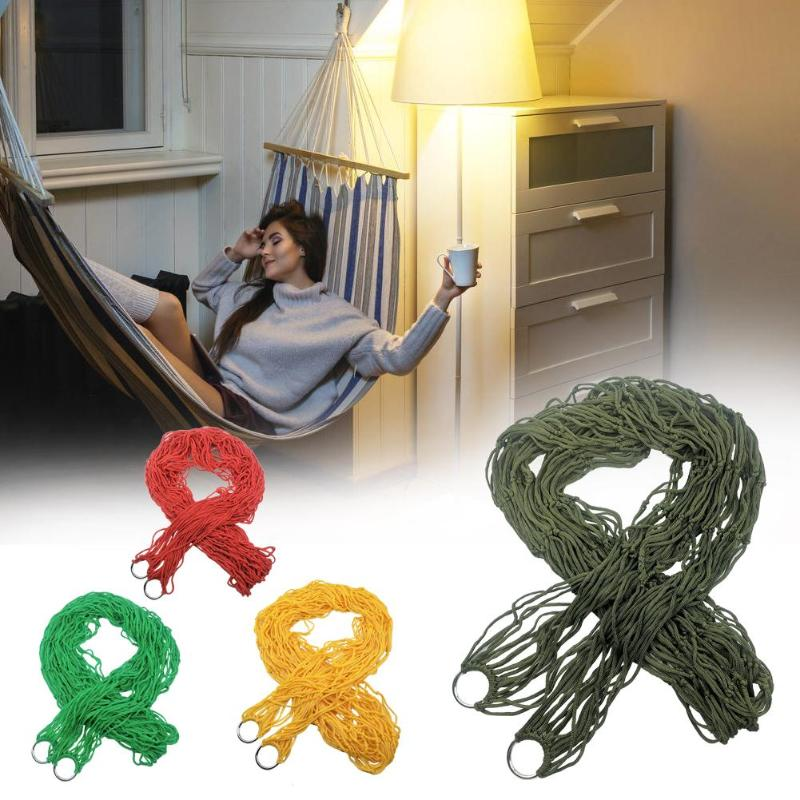 Portable Single Person Mesh Nylon Hammock Hanging Bed Mesh Net Swing Sleeping Camping Travel Hammocks Adult Furniture