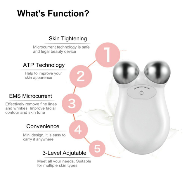 Mini microcurrent face lift machine Skin Tightening Rejuvenation Spa USB Charging facial wrinkle remover device Beauty Massager 1