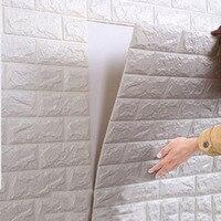 Nieuwe PE Foam 3D Steen Baksteen Muurstickers 13 Kleuren Posters Grote zelfklevend Behang Voor Kinderen Kamers 70*77 cm Home Decor muurschildering