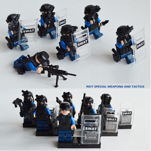 Super policeman SWAT Army Explosion proof Police weapons building block compatible with legoe city for kids gifts