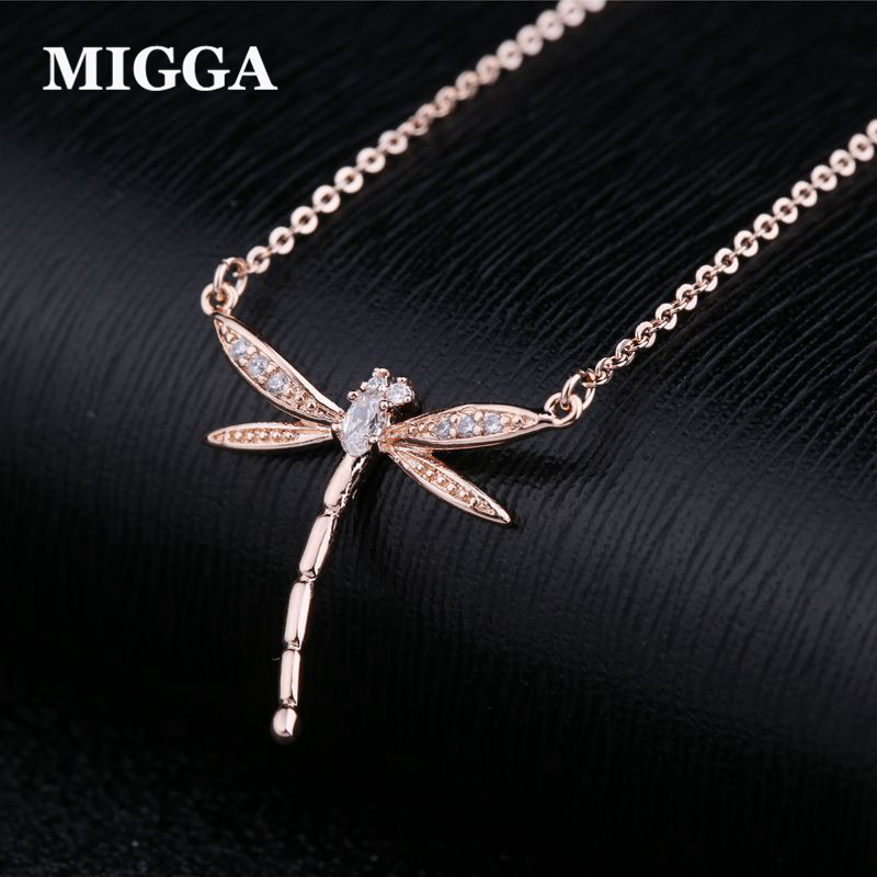 MIGGA Cubic Zircon Stone Crystal Dragonfly Charm Rose Gold Color Necklace Women Girls Clavicle Chain