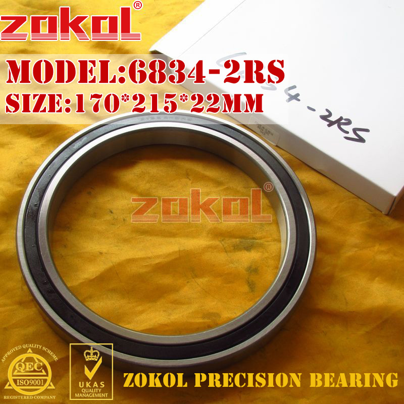 ZOKOL 6834RS bearing 6834 2RS 1000834(61834) Deep Groove ball bearing 170*215*22mm zokol 6930rs bearing 6930 2rs 1000930 61930 6930 2rs deep groove ball bearing 150 210 28mm