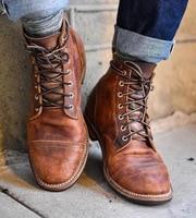 High Quality British Men Boots Autumn Winter Shoes Men Fashion Lace up Boots PU Leather Male Botas 2018