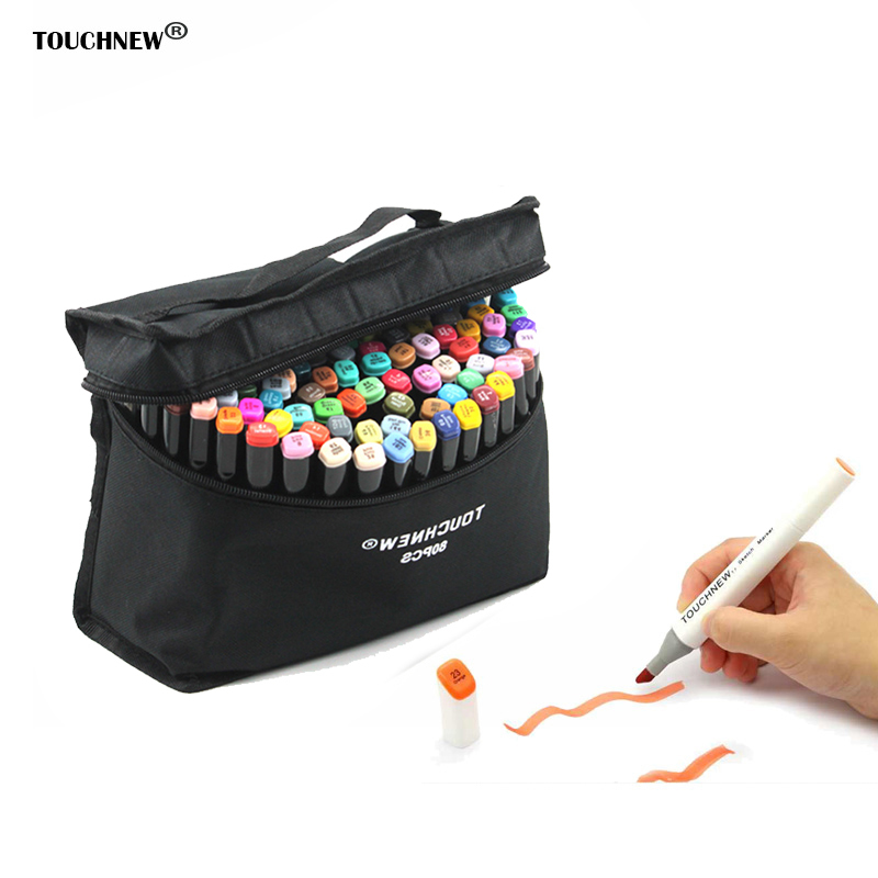 TOUCHNEW T7 Double art markers 60 80 168 Set Colors Alcohol Graphic Drawing Dual Tip Sketch Marker Pen Hand Painted Design Draft touchnew 30 40 60 80 colors artist design double head marker set quality sketch markers for school drawing art marker pen