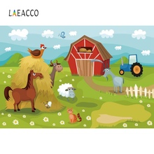Laeacco Photo Background Rural Farm Animal Grass Cloud Baby Newborn Birthday Party Cartoon Backdrop Photocall Studio