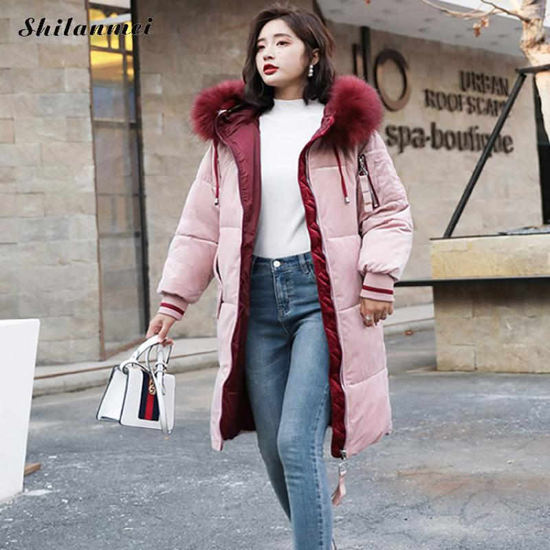 Winter Women Feather Jacket Medium Long Hooded Thickness Large Fur Collar   Down     Coat   Female Snow Outerwear Plus Size 2018 Hot