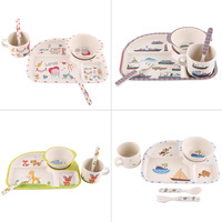 5Pcs Set Bamboo Fiber Tableware Baby Plate Bowl Cup Forks Spoon Food Safe Children Feeding