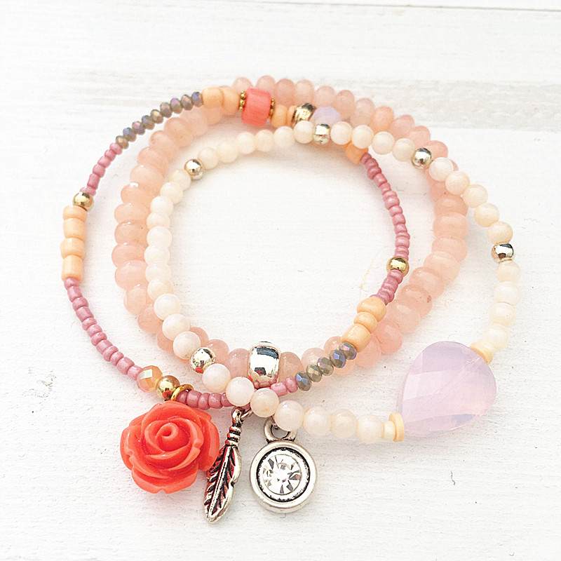 Dongmu jewellery handmade bohemian exaggerated fashion colorful crystal combination ladies bracelet exquisite jewelry