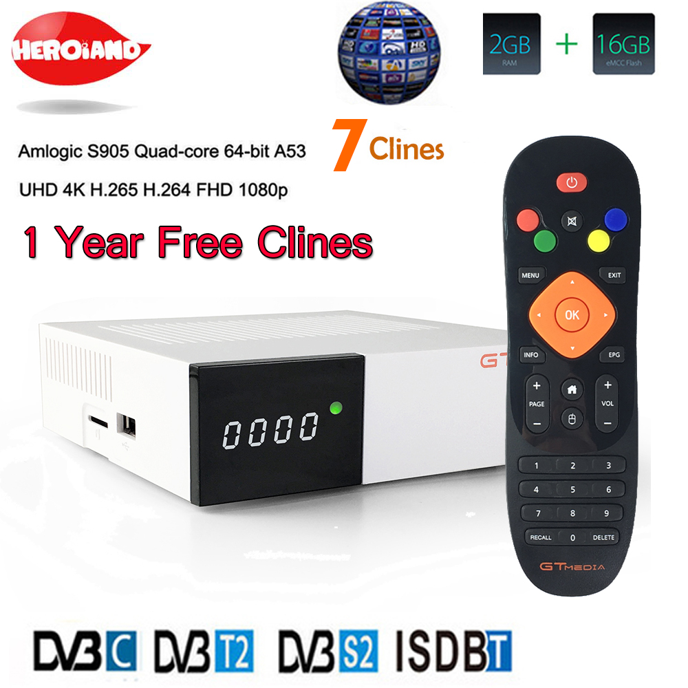 Hero Iand GTC Satellite Receiver DVB-S2+T2+C ISDB-T 2+16GB Wifi 2.4G+BT4 Amlogic S905D TV box android 6.0 1 year Europe clines free shipping isdb t quad tuner pcie card tbs6814 perfect for brazil sbtvd and japan isdb t tv programs