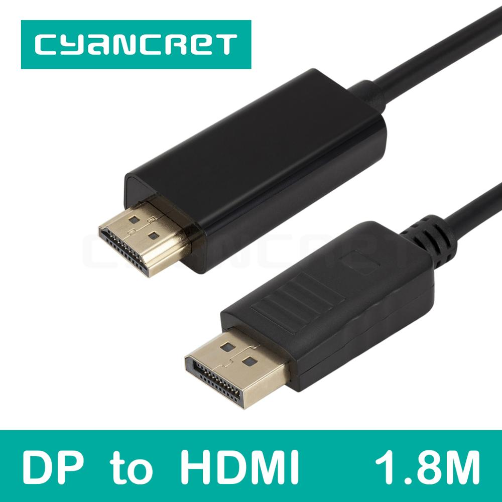 Video Cable Displayport DP to HDMI Port Cable 1.8M Male-Male Transmits HD Video for Computer TV Monitor Projector Support 1080P