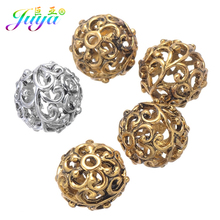 Juya 10pcs/lot Wholesale 12mm Engrave Beads Hollow Antique Gold Silver Color Metal Beads For Women Men Beadwork Jewelry Making