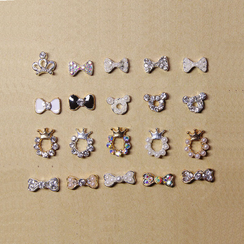 10pcs Bow Tie Crown Design Gold Silver Alloy 3d Nail Art Decorations Rhinestones New Arrival NP013 in Rhinestones Decorations from Beauty Health