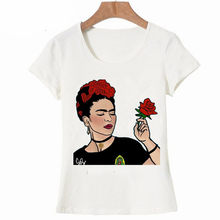 8a25abe8 Women Summer 3D White T Shirt Funny Frida Kahlo Print Tees Tumblr Short  Sleeve Round Neck Top Graphic Women Clothing