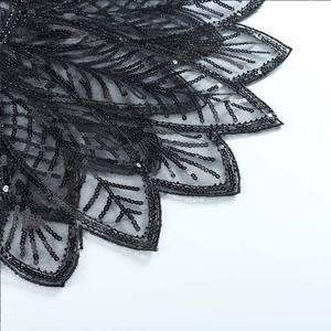 Image 2 - שחור צעיף קייפ בולרו משיכת הכתפיים עם חרוזים Armhole בציר בהשראת 1920s גטסבי הגדול סנפיר אמנות דקו יד עשה