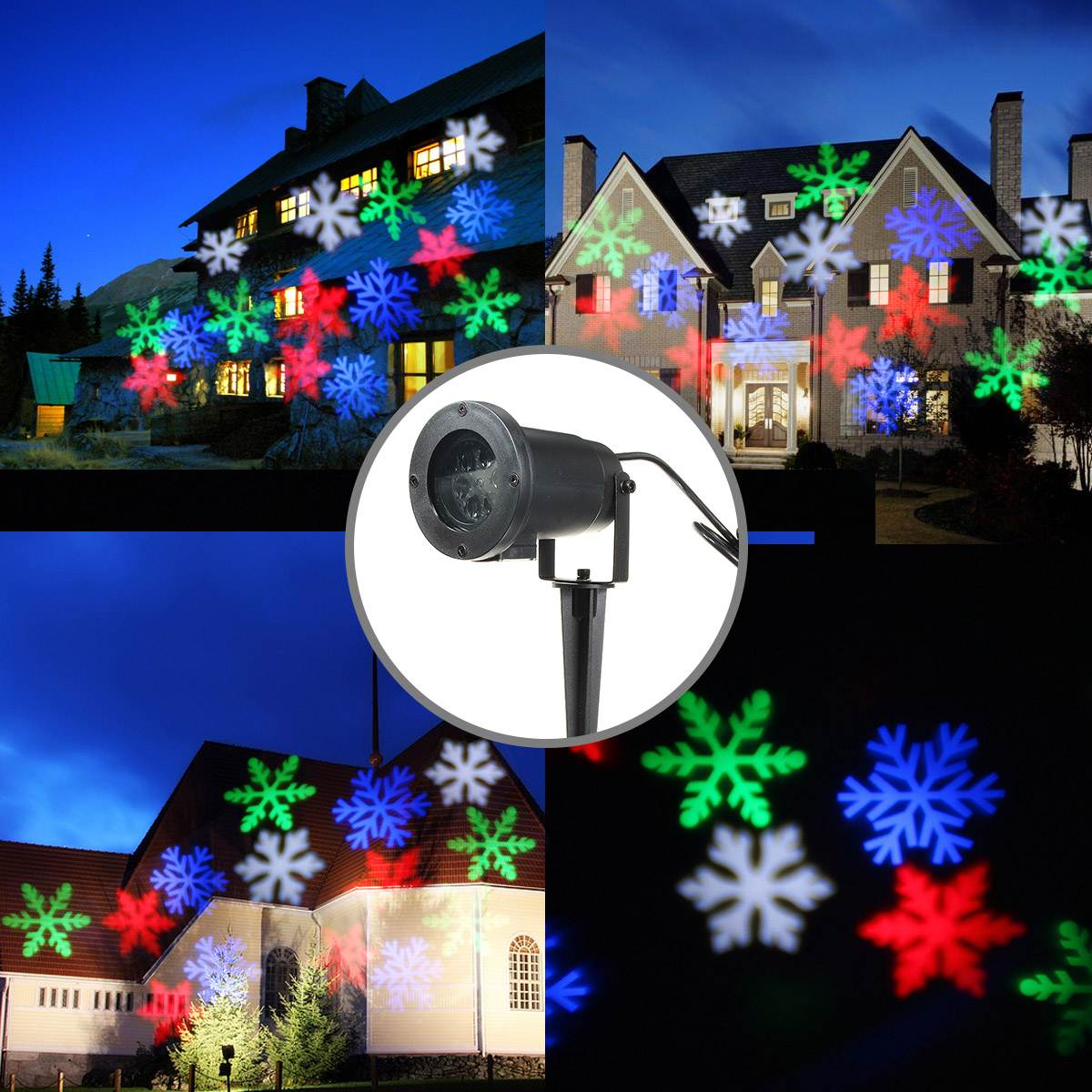 Mising 4 Patterns Outdoor LED Snowflake Laser Projector Light Star Lawn Lamps Light Waterproof Snow Lasers Christmas Decoration