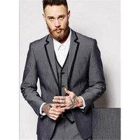 2017 High Qulity Grey Tuxedo Custom Notch Lapel Men Suit terno masculino Slim Fit 3 Pieces Party mens Suits (Jacket+Pants+Vest)