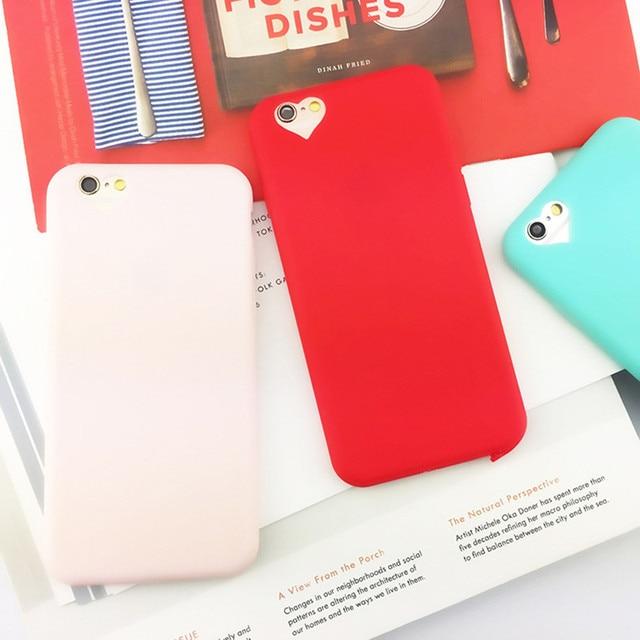 aliexpress com buy fashion candy color loving heart hole phonefashion candy color loving heart hole phone cases for iphone 6 case for iphone 6 6s 7 plus 5s 5 se soft tpu phone covers