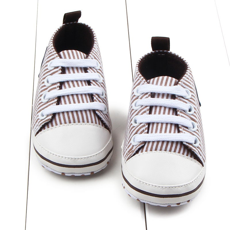3 Color New Style Baby Girls And Boys Toddler Shoes Canvas Lace Stripe Soft Bottom Baby Shoes 0-12M M2