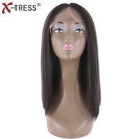 Bob Lace Front Wigs Yaki Straight Middle Part Natural Black Kanekalon Ombre Colors Short Synthetic Hair Wigs For Women X TRESS