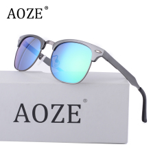 AOZENew Polarized Sunglasses Men 2018 Aluminum Magnesium Alloy Frame Casual Driving Glasses Women Semi m Nails uv400 8558