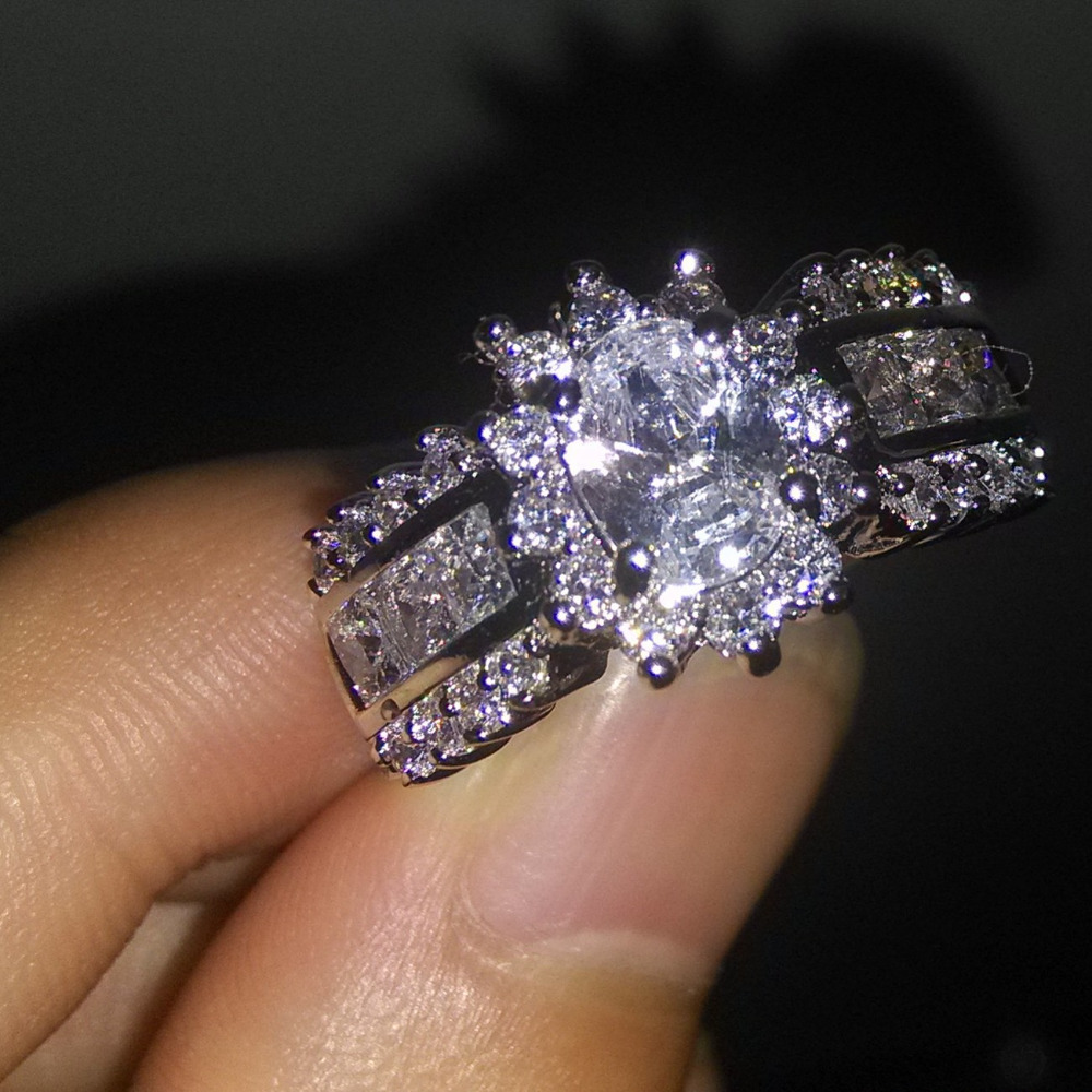 Victoria Wieck Cocktail Jewelry 10KT Gold Filled AAA Cubic Zirconia Diamonique Wedding Women Engagement Ring size 6/7/8/9/10