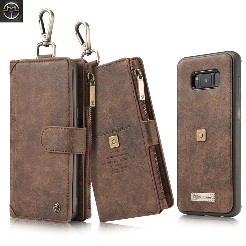Luxury Multifunction Genuine Leather Flip Case For Samsung Galaxy S8 Plus Case Removable Magnetic Zipper Wallet