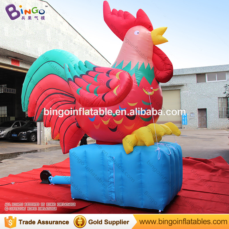 Free delivery Buyer request chinese new year inflatables red rooster for decoration toy signatures catalog request