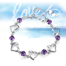 TJP Charm Purple Crystal Heart Girl Silver Bracelets Anklets Fashion 925 For Women Wedding Engagement Bijou Hot