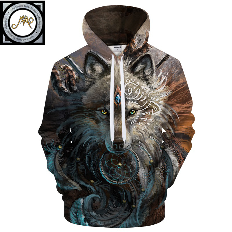 Lobo Warrior por SunimaArt sudaderas Unisex con capucha Sweatshits Drop Ship Animal Hoodie marca chándales 2018 pulóver abrigo Masculino