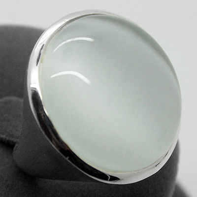 Rare White Opal Cat Eye 24mm 925 Sterling Silver Jewelry Ring Size 7/8/9/10