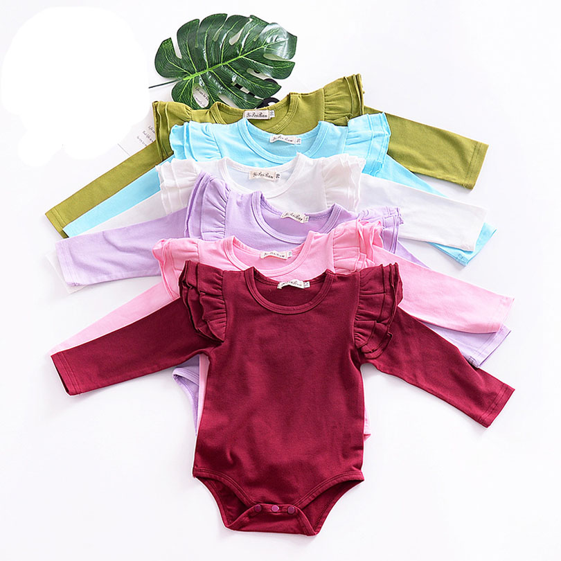 Bobo Cute Newborn Baby Girl   Romper   Clothes Summer Ruffled Sleeve Solid Bebes   Rompers   Toddler Kids Jumpsuit Outfits Sunsuit 0-36M
