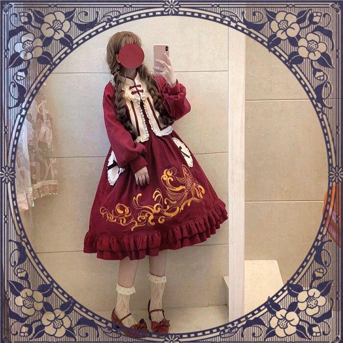 중국 스타일 로리타 레이스 러브 보우 포켓 디자인 멋진 잉어 자수 드레스 flouncing 공주 일본 여자 jsk 레드 드레스-에서드레스부터 여성 의류 의  그룹 2