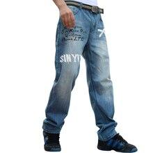 2017 модные джинсы мужчины печатных стиль мешковатые hip hop мужские мужские Джинсы Известный Бренд Прямые Джинсовые Комбинезоны Брюки 30-46 21