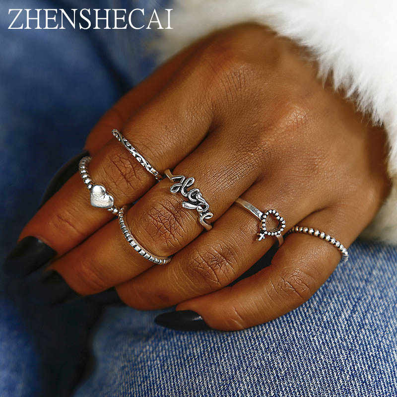 6pcs/set metal  Knuckle Ring Set Boho Punk Jewelry For Women love heart sliver Adjustable Moon Finger Ring Bohemian jewelry nj13