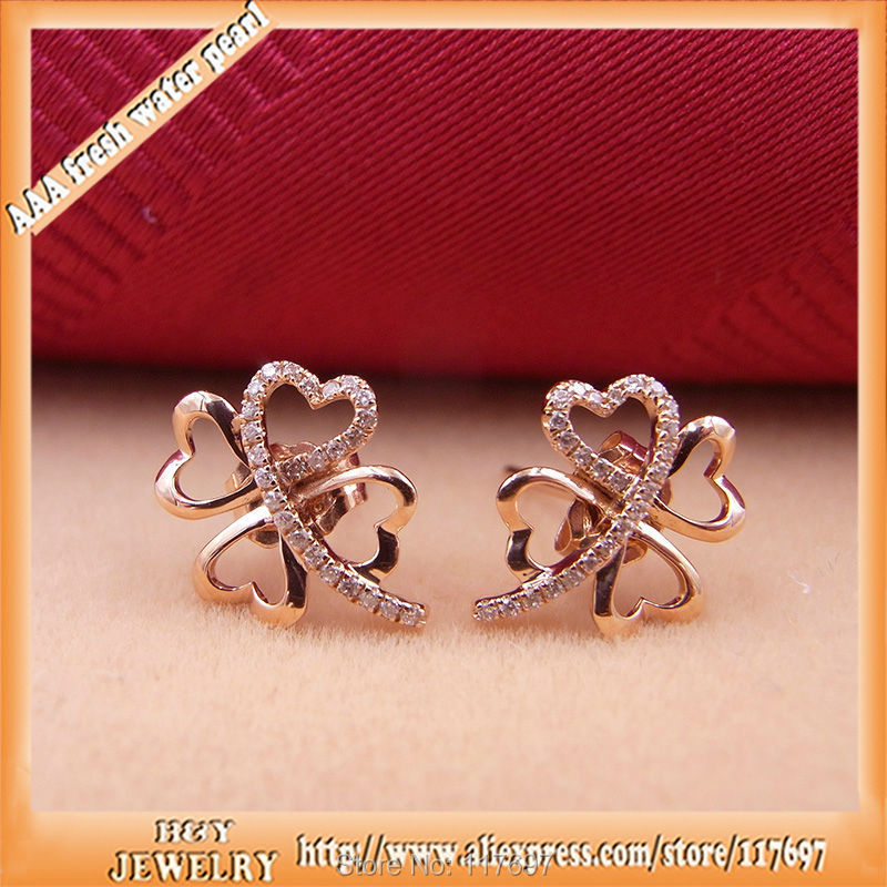 Luxurious 100 Real 18k Rose Gold With Vs2 Diamond Fashion Clover Design Korean Jewelry Stud Earrings For Women In From Accessories On