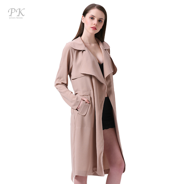 PK Camel Trench Coat for Women Turndown Collar Womens Trench Coats British  Style Clothing Long Coat