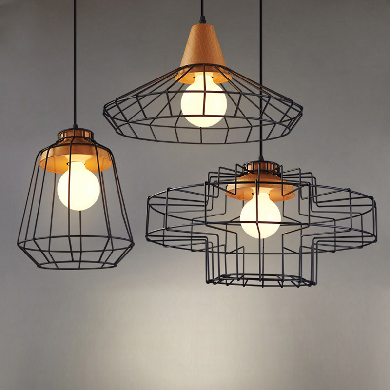 vintage Loft style pendant lights nordic retro Bar Coffee Shop fixture metal lampshade industrial lighting cage pendant lamp free shipping rh570 retro loft vintage style metal painting round pendant lights lamp