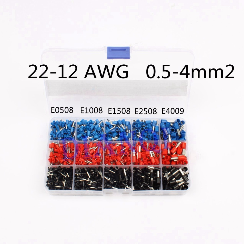 1065pcs/set 3 colors 22~12AWG Wire Copper Crimp Connector Insulated Cord Pin End Terminal Bootlace cooper Ferrules kit set brass 190pcs lot 6 different crimp terminal ring connector kit set wire copper crimp connector insulated cord pin end terminal